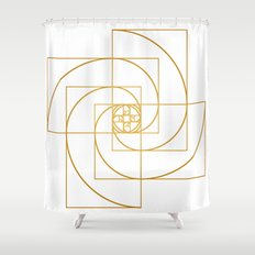 Golden Pinwheel Shower Curtain