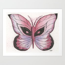 Ink and Watercolor Butterfly in rose colored tones Art Print