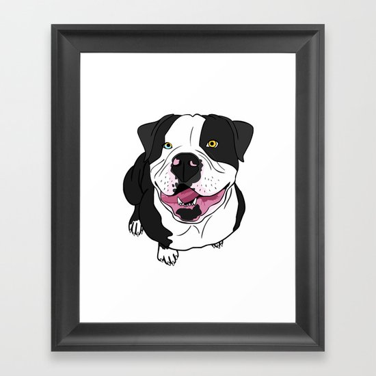 Bubba, the American Bulldog Framed Art Print