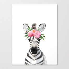 Baby Zebra with Flower Crown Canvas Print