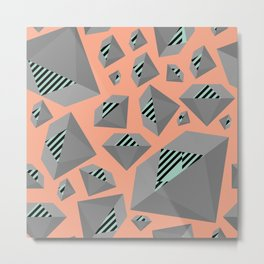 Mint and Gray Diamond on Peach Metal Print