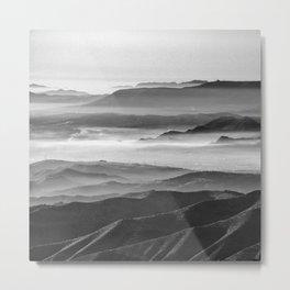 Foggy sunset. Mountains. Square. BW Metal Print