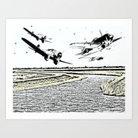 airplanes Art Prints featuring Airplanes over the water by Michael Mann