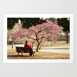 Girl on Bench, Viewing Plum Blossoms Art Print
