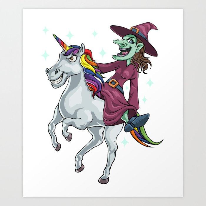 Halloween Witch Riding Unicorn Art Print By Merchmojo