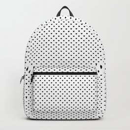 MIni Black Polka Dot Hearts on White Backpack