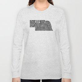 Typographic Nebraska Long Sleeve T-shirt