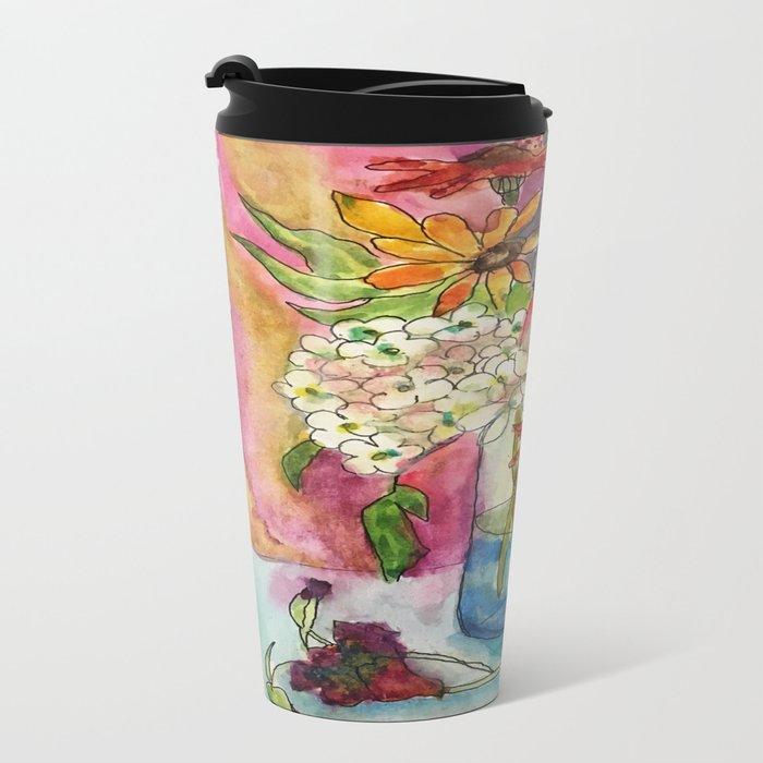 Fall Flower Bouquet Metal Travel Mug