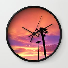 "Hermosa Beach ""Pink Sky"" Wall Clock"