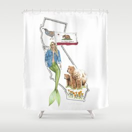 California Mermaid Shower Curtain