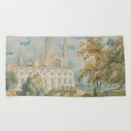"""J.M.W. Turner """"Clare Hall and King's College Chapel, Cambridge, from the Banks of the River Cam"""" Beach Towel"""
