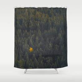 Modern Landscape Photography Single Autumn Tree Pine tree Forest Green Trees Yellow Focal Point Shower Curtain