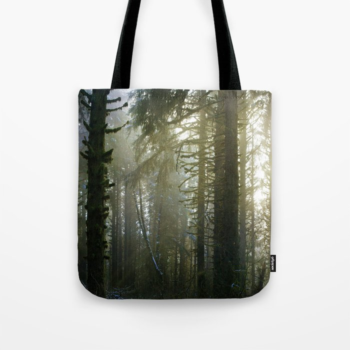 Foggy Forest #evergreen Tote Bag