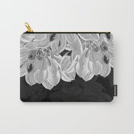 Elegant Black and White Flowers Design Carry-All Pouch