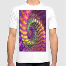 Coloured Spiral wheel White Mens Fitted Tee MEDIUM