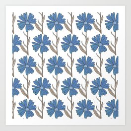 Flowers in blues and browns Art Print
