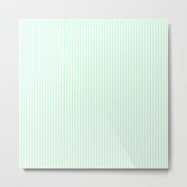 Summermint Green and White Pinstripe Pattern Metal Print