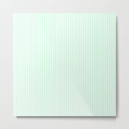 Summermint Green and White Pinstripe Pattern Metal Print