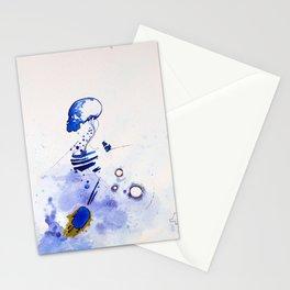 Blue Skully, abstract skull punk, NYC artist Stationery Cards