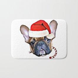 Christmas French Bulldog Bath Mat