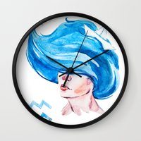 aquarius Wall Clocks featuring Aquarius by Aloke Design