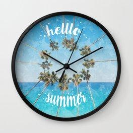 hello summer palm trees design 2 Wall Clock