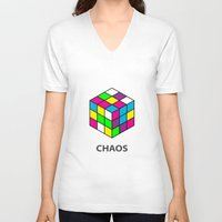 chaos V-neck T-shirts featuring Chaos by Dizzy Moments