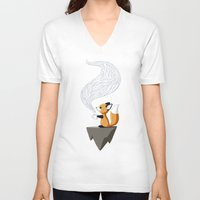 digital V-neck T-shirts featuring Fox Tea by Freeminds