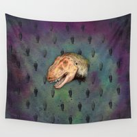 dinosaur Wall Tapestries featuring  The Dinosaur by Mehdi Elkorchi
