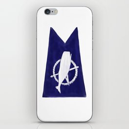 Nantucket Blue and White Sperm Whale Burgee Flag Hand-Painted iPhone Skin
