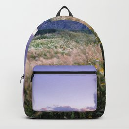 Beautiful spring. At purple sunset Backpack