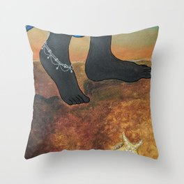 Silhouette of feet with anklets in the beach and seashells Throw Pillow