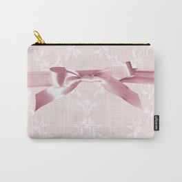 White lace & Pink ribbon Carry-All Pouch