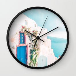 Santorini Greece Cozy blush travel photography in hd. Wall Clock