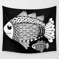 pen Wall Tapestries featuring Fishies Zentangle Black and White Pen & Ink by Vermont Greetings