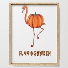 Flamingo funny halloween flamingoween pumkin casual t-shirt Serving Tray