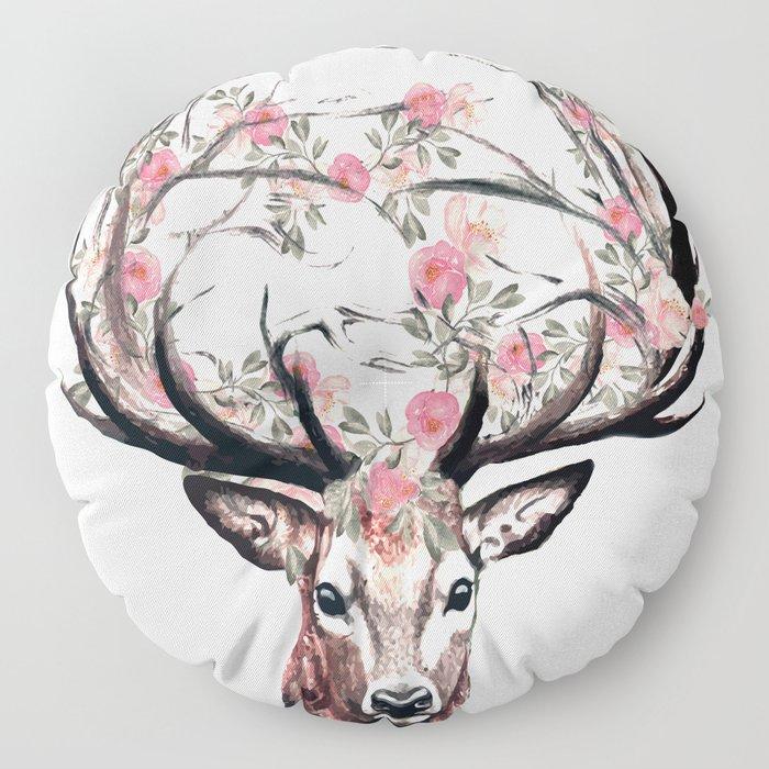 Deer and Flowers Floor Pillow