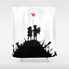 Banksy Kids With Heart Balloon Shower Curtain