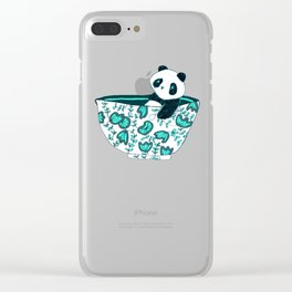 Dinnerware sets - panda in a bowl Clear iPhone Case