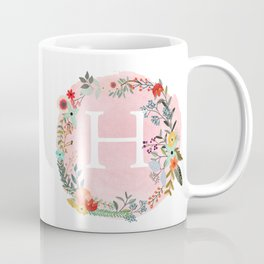 Flower Wreath with Personalized Monogram Initial Letter H on Pink Watercolor Paper Texture Artwork Coffee Mug