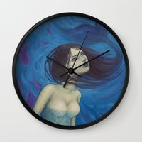 pisces Wall Clocks featuring Pisces by Artist Andrea
