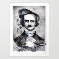 edgar allan poe Art Prints featuring Edgar Allan Poe by JsuauG