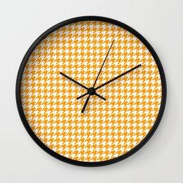Friendly Houndstooth Pattern, orange Wall Clock