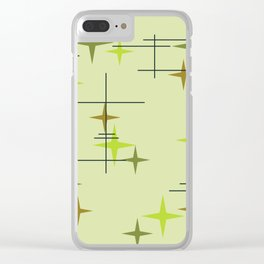Mid Century Modern Stars Chartreuse Clear iPhone Case