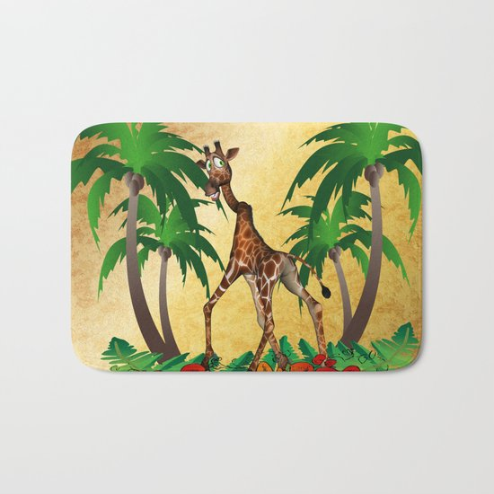 Funny giraffe  Bath Mat