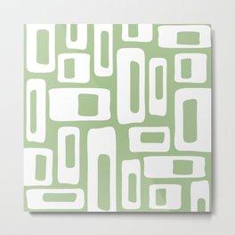 Retro Mid Century Modern Abstract Pattern 335 Sage Green Metal Print
