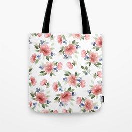 Blush Pink Watercolor Flowers Tote Bag