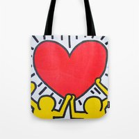 keith haring Tote Bags featuring Keith Haring by Et Voilà