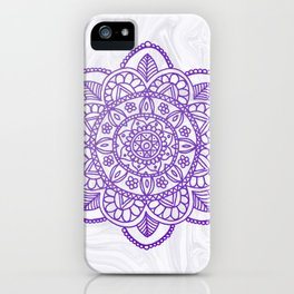 Purple Mandala on White Marble iPhone Case