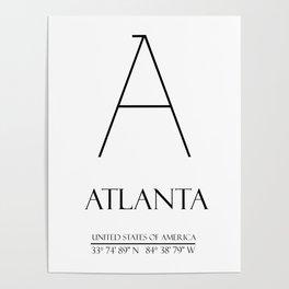 ATLANTA City Gps Coordinates Poster